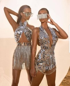 Stage Wear Bright Silver Mirrors Crystals Chains Dress Sexy Dance Costume Women Evening Celebrate Dresses Birthday Collections