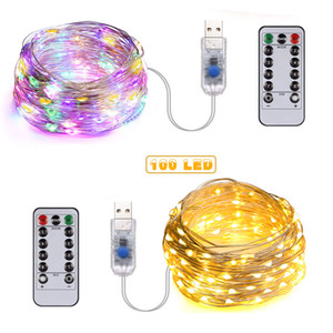 100 LED 10m Fairy String Lights 5V USB Starry Light Waterproof Copper Silver Wire Decorative String Lights with Remote Control