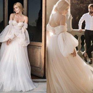 Other Wedding Dresses Light Champagne Dreamy Princess Dress 2021 A-Line Off Shoulder Puffy Sleeve Backless Fairy Bride Gown Vestidos De Noiv1