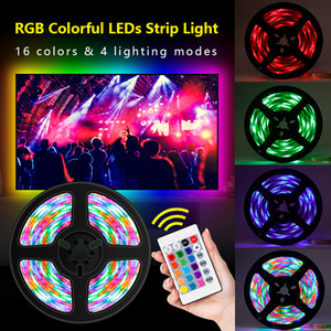 2021 New Usb Can Be Darkened Rgb Leds Strips with Remote Control Go 16 Colors Four Modes 5m 300leds Light Cable Tv Background Decorative Hom