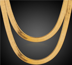 Hot Sale 18K Real Gold Plated Men Women 7 10MM Snake Chain Necklace Fashion Costume Necklaces Jewelry for Men Women