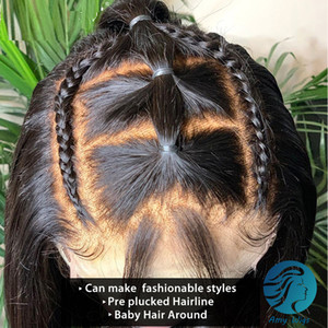 HD Transparent 13x6 Lace Front Human Hair Wigs Pre Plucked Bleached Knots Brazilian Remy Free Part Straight Lace Frontal Wig With Baby Hair