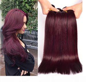 Distribuidores al por mayor 300g Lot Tangle Free Shedding Free Brazilian Human Haavy Weave 8A Color 99J Weave Weave 3bundles