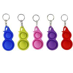 Fidget Toy Keychains Rings Baby Sensory Simple Dimple Toys Gift Adult Child Funny Pop It Stress Reliever Push Bubble Gourd Key Chains Holder