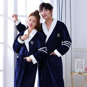 Couple Men Women Warm Super Soft Flannel Coral Fleece Bath Robe Mens Kimono Bathrobe Male Dressing Gown Robes