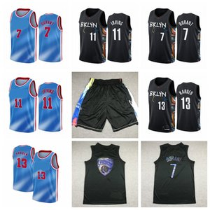 Uomo Kevin Durant # 7 Jersey 11 Kyrie Irving 13 Harden Jersey Black Basket Black Jersey BasketCall Short
