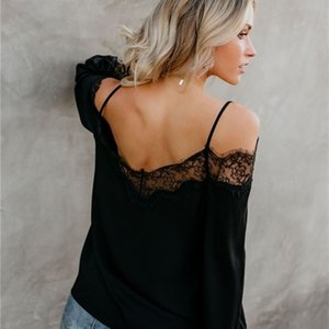 Long Womens Designer Slash Sleeve Panelled Clothing Womens Lace Slip Tshirt Casual Sexy Neck Females Tees Oacft