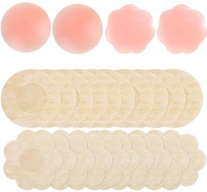 Hicdaw 24PCS Nipple Covers Nipple Pasties Silicone Bra Nipple Stickers with 4 Reusable Silicone Covers 20 Breast Disposable Adhesive