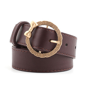 Fashion Gold Round Buckle Bow Design Hot Casual for Women Clothes Lady Pu Leather Waist Belt Luxury Straps