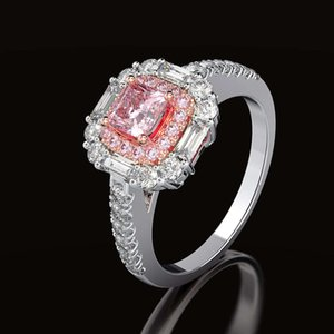 HBP fashion Shipai luxury simulation Princess square powder Diamond zircon Ring