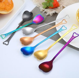 Love Heart Shaped Spoon Colorful Ice Cream Spoon Coffee Tea Stir Spoons For Party Wedding Supplies kitchen Accessories SEA HHC6201