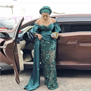 Plus Size Mermaid Evening Dresses Off the Shoulder Aso Ebi green Prom Party Gowns Short Sleeves African robes de cocktail