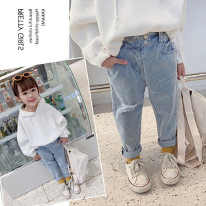 TG Korean INS Newest Spring Summer Kids Girls Jeans Hole Trousers Quality Elastic Waist Autumn Children Hole Pants