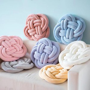 45 CM Knotted Plush Ball Pillow Waist Back Cushions Home Bed Decoration Soft Plush Knot Hand Woven Braided Cushion Throw Ball
