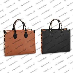 M58521 M58522 Designer Women ONTHEGO MM shopping Bag braided cowhide leather Wild at Heart leopard-print luxury Handbag Purse Tote Shoulderbag Crossbody Clutch