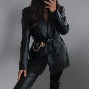 الحلل 2021 الخريف الشتاء الجديدة المرأة الصلبة اللون البدلة طوق وهمية جيب الأزياء عارضة بو الجلود سترة