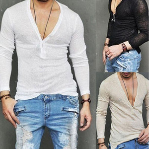 Men's T-Shirts Fashion Mens T-Shirt Plain Blank V-Neck Tee Lot Slim Fit Tee Tops Long Sleeve Stylish Mens T-Shirts