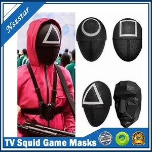 Игра TV Squid Makeed Man Masks Round Squire Треугольник Маска Аксессуары Нежный Хэллоуин Masquerade Костюм Партии