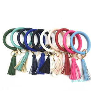 Bangles Keys Ring Tassel Charms Leather Wrap Bracelets Pendant Chain Wristbands 22 Colors to Choose Party Favor LXL965QRNZ2