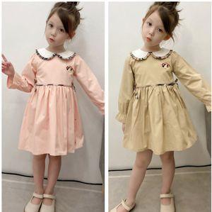 Luxury Children Plaid Dress Designer Kids ruffle doll lapel long sleeve pleated Dresses 2021 autumn Girls lattice princess Clothing A7598