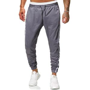 Rahat Pantolon Erkekler Spor Pantolon Baskı Ekose Pantolon Streetwear Gevşek Şerit Sweatpants Erkekler Hip Hop Joggers Mens Harem