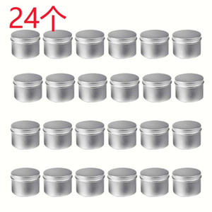 24 Pack Round Metal Tins Box Candle Tin Black Aluminum Jar Storage Empty Pot Plain Cream Cosmetic Container