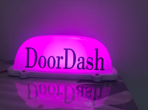12V Car DoorDash Taxi Cab Roof Top Sign Light Lamp Magnetic with 3m Cigarette PO for taxi drivers