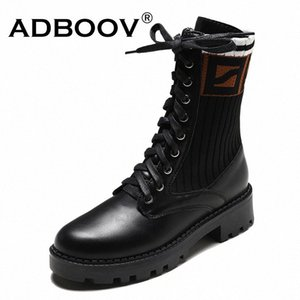 ADBOOV Platform Flat Boots Women Knit + Leather Ladies Fashion Boots Winter Cross Tie Black Shoes Woman C0ED#