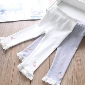 Girls Leggings Lace Baby Leggings Cotton Kids Tights 1-5Y Spring Autumn Girls Trousers Skinny Pants Children Clothes B4121