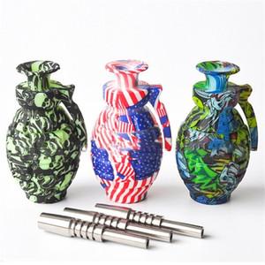 NUEVO Grenade Silicone Nectar Collector Set de 14 mm Conjuntos Titanium Nail Pee Oil Rigs Glass Bongs DAB Straw Pipe Pipe Rig Silicon Fumar Pipe
