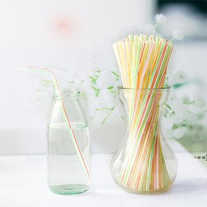 100pcs bag Disposable Plastic Drinking Straw colorful Bend Drink Straws Fruit Juice Milk Tea Pipe Bar Party Accessory BWA9648