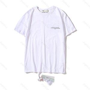 21ss Primavera Printing Impressão Tees Ow Solto Casual Esportes em volta do pescoço de manga curta T-shirt homens e mulheres 1139 TTW