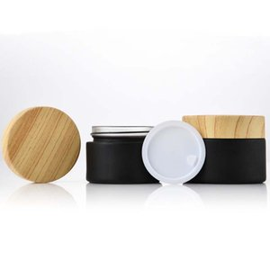 Black Frosted Glass Jars CosmeticJars With Woodgrain Plastic Lids PP Liner 5g 10g 15g 20g 30 Lip Balm Cream Containers GWB4965