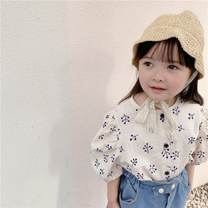 Japanese style girls puff sleeve floral shirts linen loose single-breasted printing shirt clothes 210302