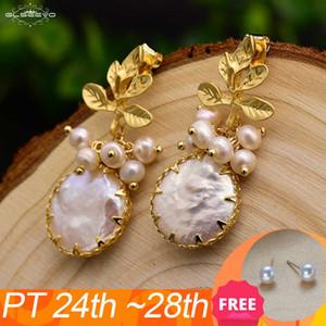 GLSeevo Natural Fresh Water Baroque Orecchini perla per le donne Le foglie Plant Lovino Orecchini di lusso Handmade Belle Gioielli Ge0308