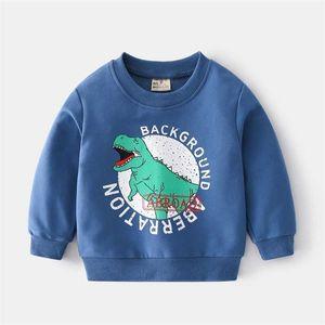 Kids Cartoon Dinosaur Boys Sweatshirts Autumn Spring Long Sleeve Pullover Tops for Children Clothing G0917