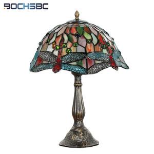 """Fumat Tiffany Style Red Dragonfly Colorida Lámpara de mesa de vidrieras Lámpara de lujo artesanía artística luz antigua interruptor de atenuación 12 """""""