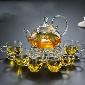 1 pc 600ml resistente ao calor com alça alta flor vidro copo de chá de chá de florescendo bules de vidro chinês 250 s2
