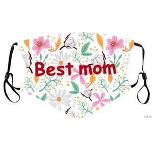 Mütter Tag Maske Dame Mode Atmungsaktive Mundabdeckung Blume Druckted Staubdichte Einstellbare Best Mom Masks DHA4131