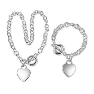 Christmas Gift 925 Silver Love Necklace+Bracelet Set Wedding Statement Jewelry Heart Pendant Necklaces Bangle Sets 2 in 1 5 R2