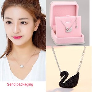 S925 Sterling Silver Black Swan Necklace female white swan clavicle chain rose gold pendant swarovski elements student day gift
