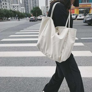 Women Canvas Shoulder Bag Ladies Casual Corduroy Tote Soft Crossbody Bags Books Bag Striped Cloth Female Handbag Shopping Bags
