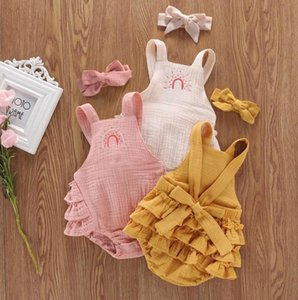 Rompers Baby Girls Summer Bodysuits Clothes Backless Cartoon Embroidery Strap Ruffle With Headband Outfits Set