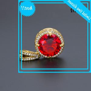 Hip hop men's Zircon Necklace round Mini Blue Black Red Diamond Pendant