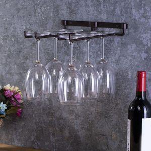 Produits de cintres à la maison utiles Fournitures à double rangée Tablette métallique sous l'armoire suspendue porte-mont mural Bar Porte-vins de cuisine