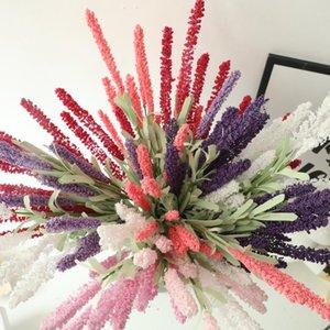 DIY Provence Decoration Real Touch Lavender Flower PE Flores artificiales Grano Decorativo 8 Colores Vivid Leaf Fake Flower