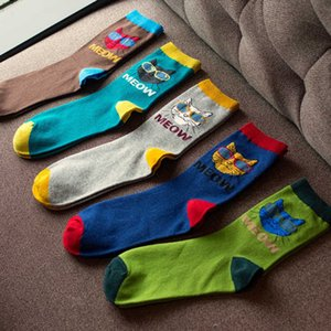 Trendy middle cat's head socks with sunglasses men's cotton stockings