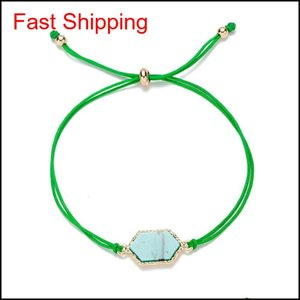 Fashion Druzy Stone Chram Bracelets For Women Healing Geometric Natural Stone Adjustable String Rope Chains Ban qylDQs bdefashion
