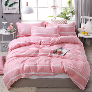 Simple Cute Peach Comforter Bedding Set Pink Bed Linens Duvet Cover Sheets and Pillowcas Bed Set Queen King Twin Size 3 4pcs