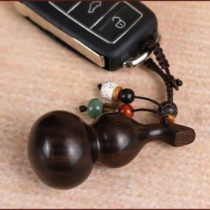 Black sandalwood handmade small gourd creative old rosewood accessories for men and women's car key pendant Decoration chain